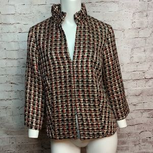 Chico's 1 (Size 4/6) Boucle Red Gold Blazer #509
